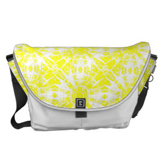 Lemon Yellow and White Tie Dye Print Messenger Bag
