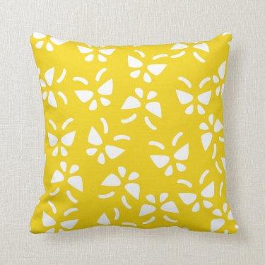 Lemon Yellow Butterfly Pillow