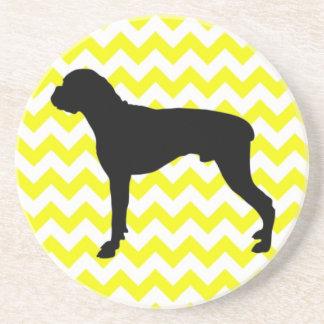 Lemon Yellow Chevron With Boxer Silhouette Coaster