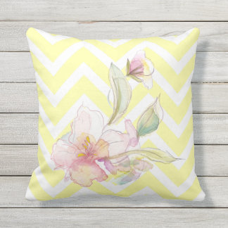Lemon Yellow Chevrons Watercolor Floral Outdoor Pillow