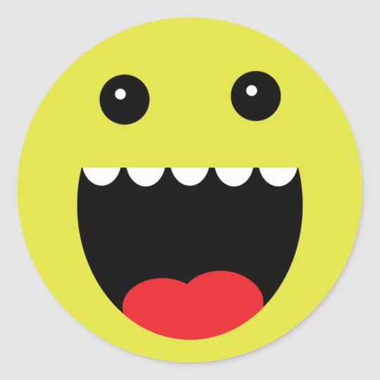 "Lemon Yellow ""Chompy"" Monster Face Classic Round Sticker"