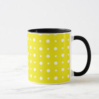 Lemon Yellow Coffee Mug, White Polka Dots Mug