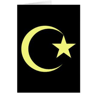 Lemon Yellow Crescent & Star.png Greeting Card