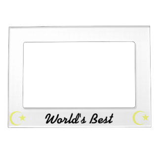 Lemon Yellow Crescent & Star.png Magnetic Picture Frame