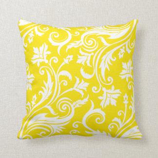 Lemon Yellow Damask Floral Pattern Throw Pillow