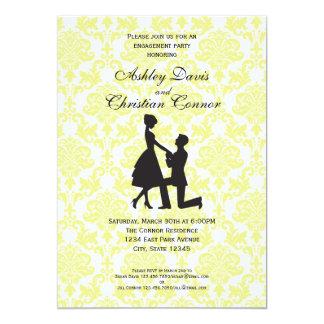 Lemon Yellow Damask Invitations
