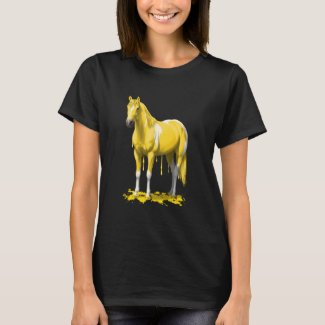 Lemon Yellow Dripping Wet Paint Horse T-Shirt