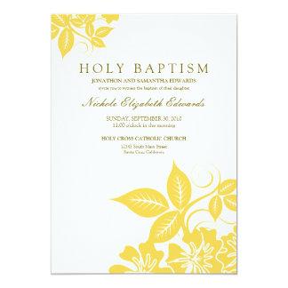 Lemon Yellow Floral Holy Baptism Invitation