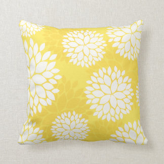 Lemon Yellow Floral Pattern Pillow