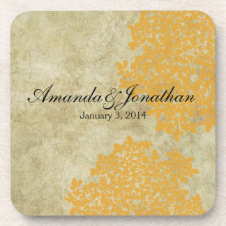 Lemon Yellow Floral Vintage Beverage Coaster