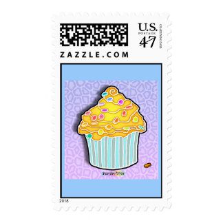 Lemon Yellow Frosted CUPCAKE POSTAGE