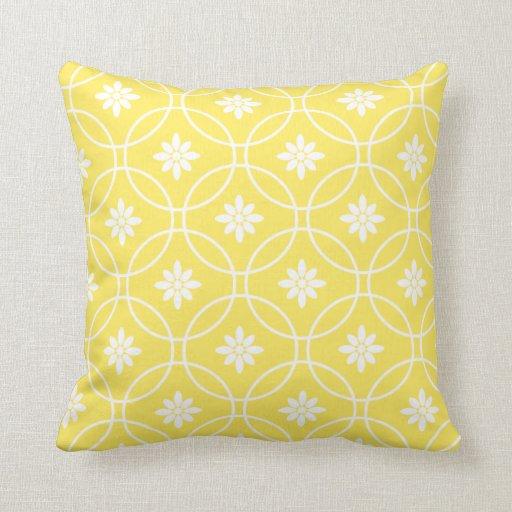 Throw Pillow Design Patterns : Lemon Yellow Geometric Floral Pattern Throw Pillow Zazzle