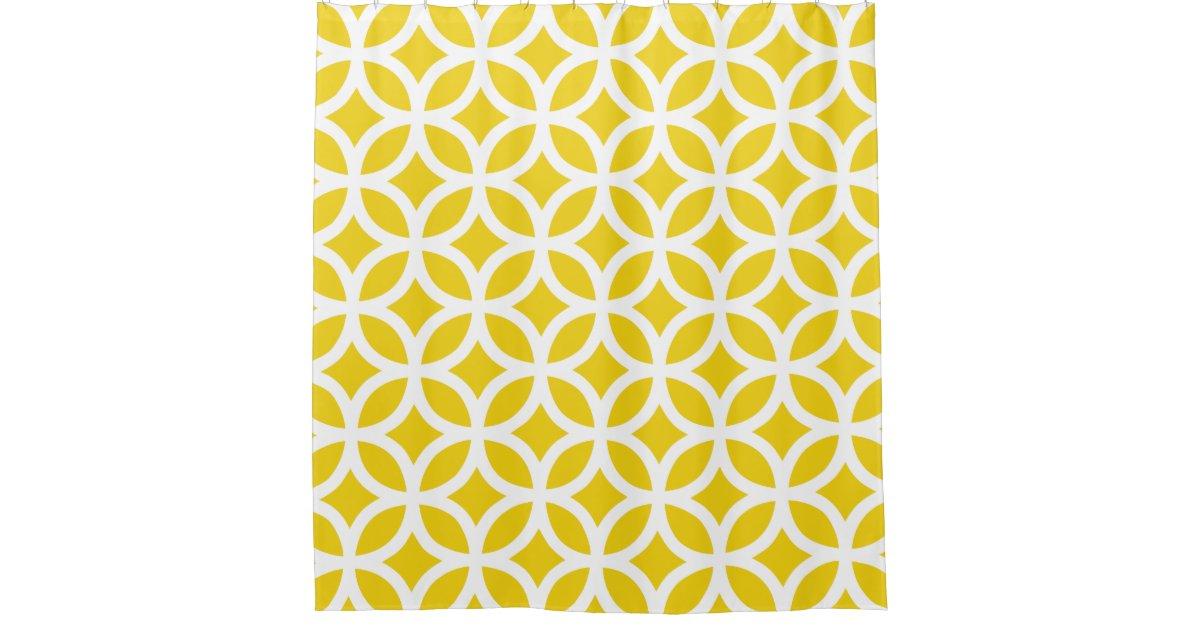 Lemon Yellow Geometric Pattern Shower Curtains Shower Curtain Zazzle