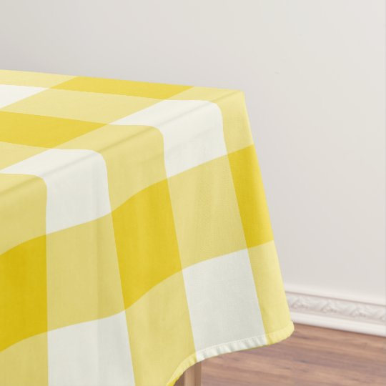 Lemon Yellow Gingham / Buffalo Check Tablecloth