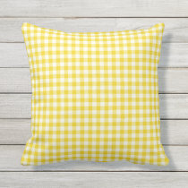 Lemon Yellow Gingham Pattern Outdoor Pillows