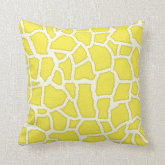 Lemon Yellow Giraffe Animal Print Throw Pillow