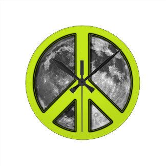 Lemon Yellow Green Moon Peace Sign Wallclock