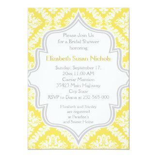 Lemon yellow, grey damask wedding bridal shower card