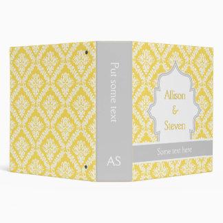 Lemon yellow, grey damask wedding planner binders