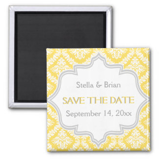 Lemon yellow, grey damask wedding Save the Date 2 Inch Square Magnet