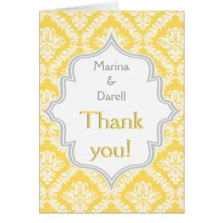Lemon yellow grey damask wedding Thank You photo Card