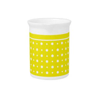 Lemon Yellow Jug or Pitcher, White Polka Dots Pitcher