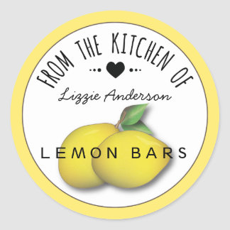 Lemon Yellow Modern From the Kitchen of Label Classic Round Sticker