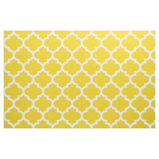 Lemon Yellow Moroccan Quatrefoil Trellis Fabric | Zazzle