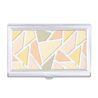 Lemon yellow mosaic pattern business card case