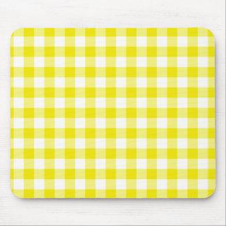 Lemon Yellow Mousepad, Check Gingham Pattern Mouse Pad