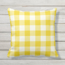 Lemon Yellow Outdoor Pillows - Gingham Pattern