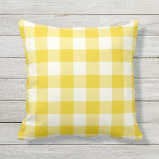 Elegant Lemon Yellow Outdoor Pillows   Gingham Pattern