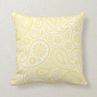 Lemon Yellow Paisley Floral Pillow