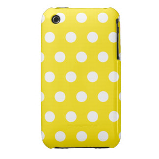 Lemon Yellow Polka Dot iPhone 3G Case iPhone 3 Case-Mate Cases