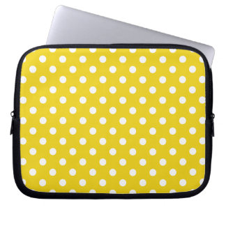 Lemon Yellow Polka Dot Pattern Laptop Sleeves