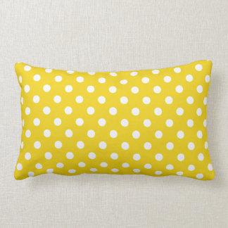 Lemon Yellow Polka Dot Pattern Lumbar Pillow