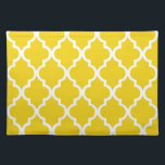 "Lemon Yellow Quatrefoil Tiles Pattern Cloth Placemat<br><div class=""desc"">Stylish and trendy designer Moroccan quatrefoil or clover trellis pattern. Perfect for special occasions and parties,  or as part of your personalized home decor.</div>"