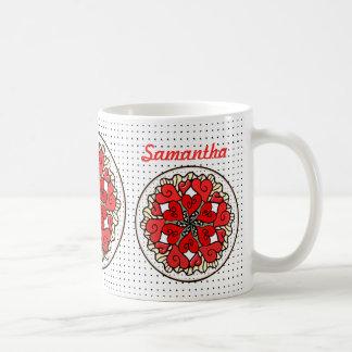 Lemon Yellow Ruffled Red Party Hearts Coffee Mug