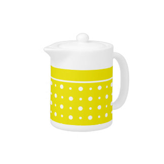 Lemon Yellow Teapot, White Polka Dots Teapot