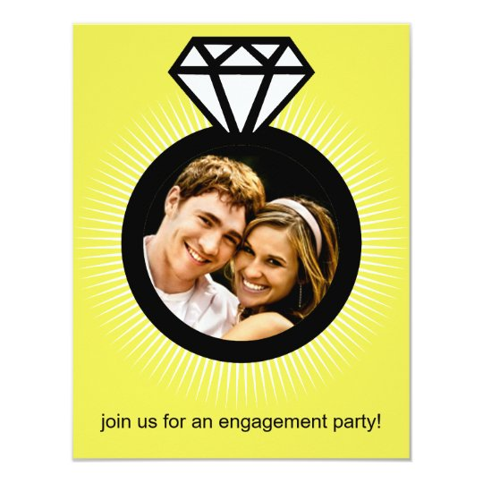 Lemon Yellow The Ring Photo Engagement Party Card