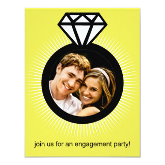Lemon Yellow The Ring Photo Engagement Party 4.25x5.5 Paper Invitation Card