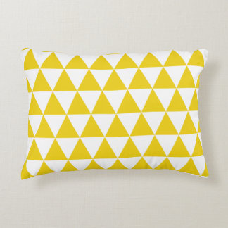 Lemon Yellow Triangles Accent Pillow