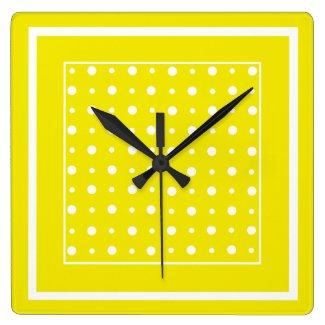 Lemon Yellow Wall Clock, White Polka Dots