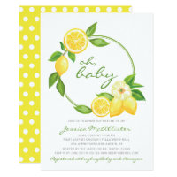 Lemon Yellow Wreath Citrus Polkadot Baby Shower Invitation
