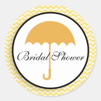 Lemon YellowChevron Umbrella Bridal Shower Sticker