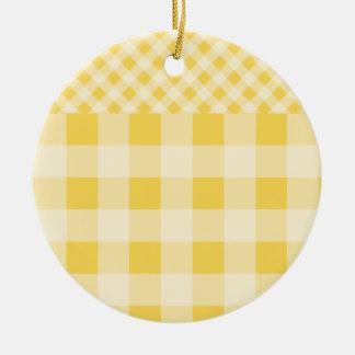 Lemon Zest Gingham pattern Ceramic Ornament