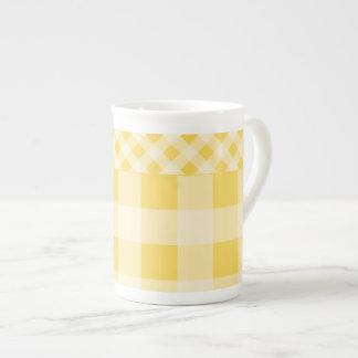 Lemon Zest Gingham pattern Tea Cup