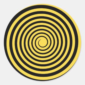 Lemon Zest Yellow & Black Spiral Customized Blank Classic Round Sticker