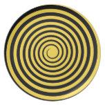 Lemon Zest Yellow & Black Spiral Customized Blank Dinner Plate