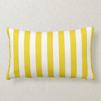 Lemon Zest Yellow Stripes Pattern Pillow
